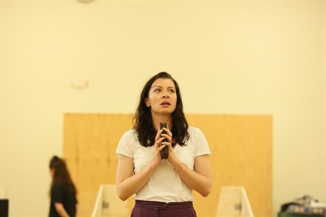 Frances McNamee in rehearsal for The Two Noble Kinsmen