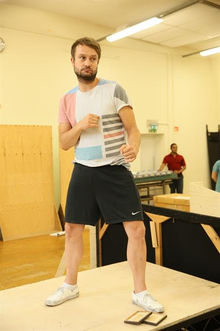 Patrick Knowles in rehearsal for The Two Noble Kinsmen