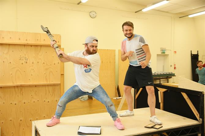 Joe Allen and Patrick Knowles in rehearsal for The Two Noble Kinsmen