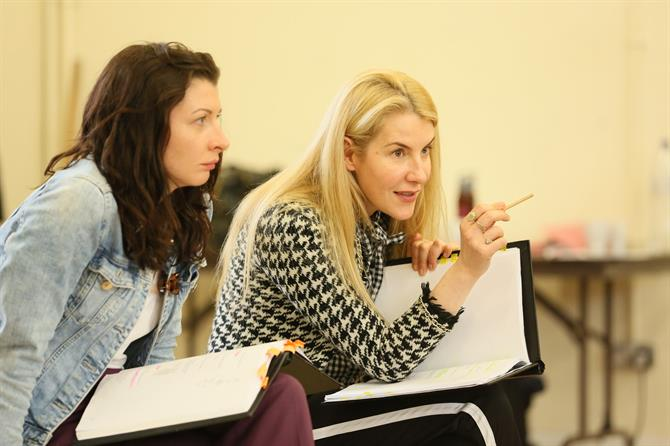 Frances McNamee and Allison McKenzie in rehearsal for The Two Noble Kinsmen