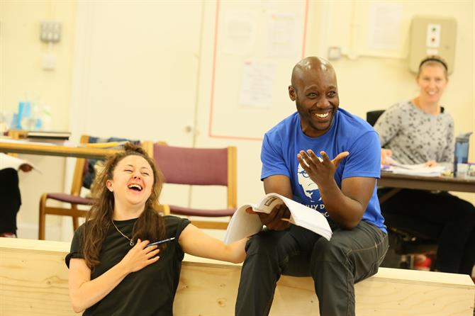 Eloise Secker and Chris Jack in rehearsal for The Two Noble Kinsmen