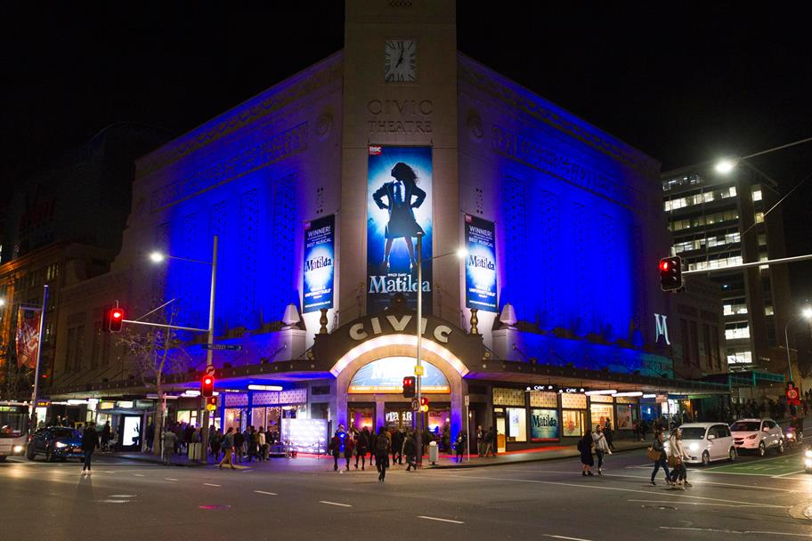 The Civic, Aukland lit up in blue for the premiere of Matilda The Musical