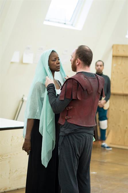 Josette Simon looking at Antony Byrne passionately