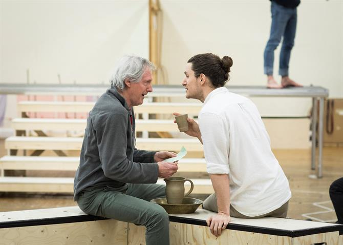 Patrick Drury and Ben Allen in rehearsal for Antony & Cleopatra