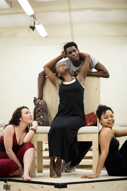Kristin Atherton, Josette Simon, Joseph Adelakun and Amber James in rehearsal for Antony & Cleopatra