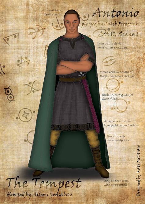 Drawing of Antonio wearing a long green cloak over a dark tunic with a sword.