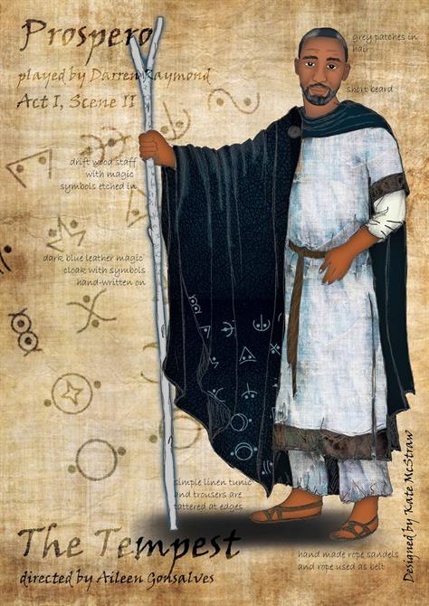 Drawing of Prospero carrying a wooden staff and wearing a dark cape covered in symbols over a white tunic.