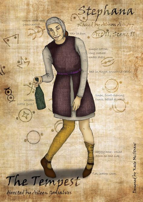 Drawing of Stephana wearing a burgundy tunic, grey hood and yellow socks, carrying a bottle.