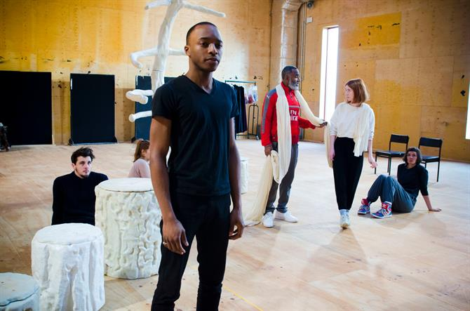 The company in rehearsal for First Encounters: The Tempest