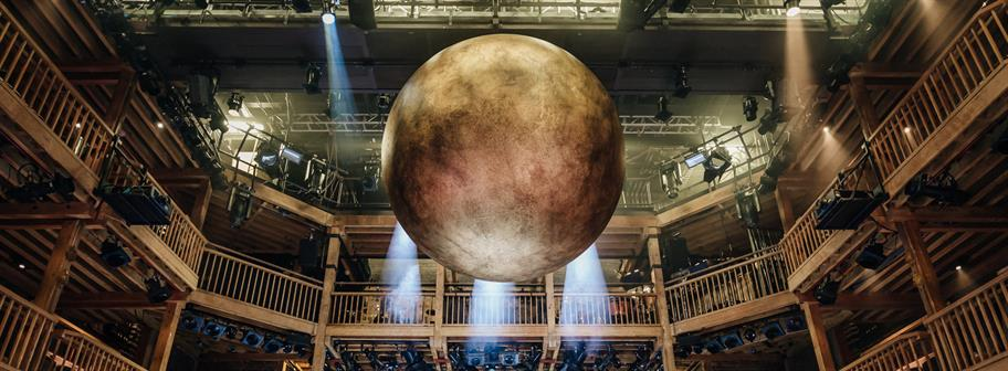 A golden sphere suspended from the Swan Theatre roof