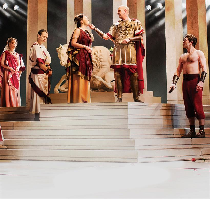some of the Company of Julius Caesar standing on the steps