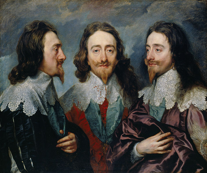 Three painted images of Charles I in regal dress.