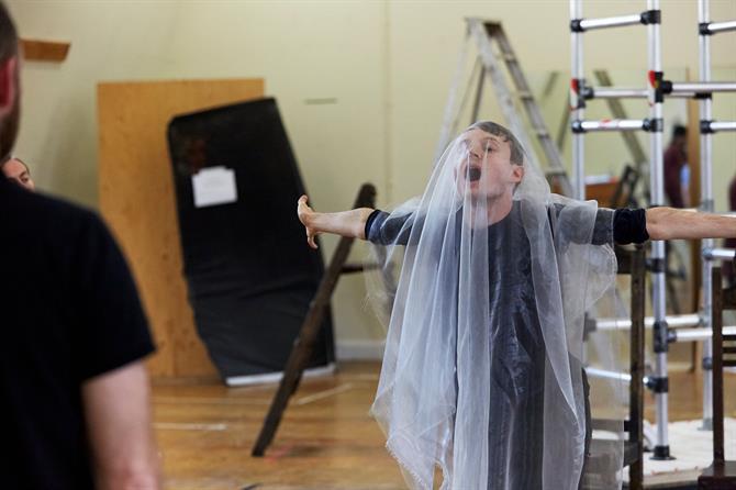 Matthew Tennyson wearing a veil