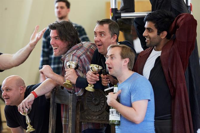 Byron Mondahl, Simon Yadoo, Christopher Middleton, Jon Trenchard and Bally Gill laughing with wine