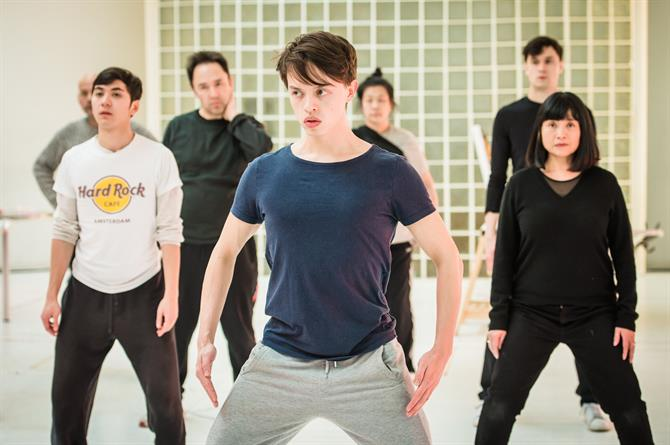 The Company in rehearsal for Snow in Midsummer