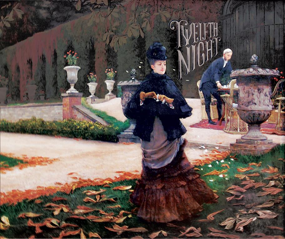 painting of a woman wearing Edwardian costume standing in a formal garden in autumn