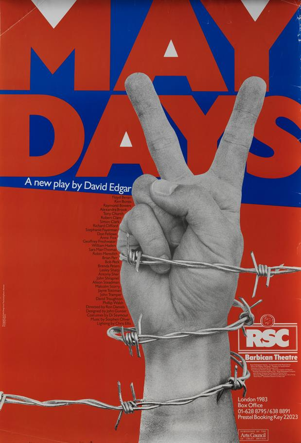 Hand showing the V for Victory sign wrapped in barbed wired in front of a red and blue poster for Maydays