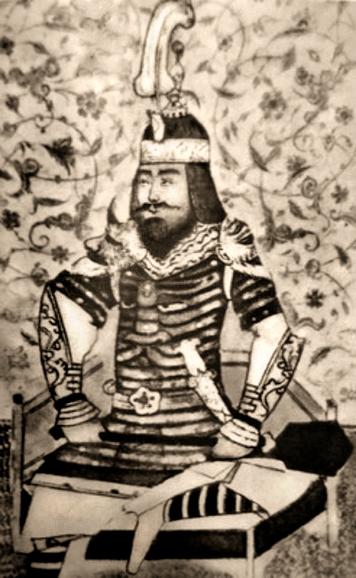A 15th century illustration of the Emperor Timur, in Persian dress.