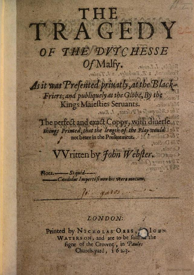 Title page from the First Edition of The Duchess of Malfi