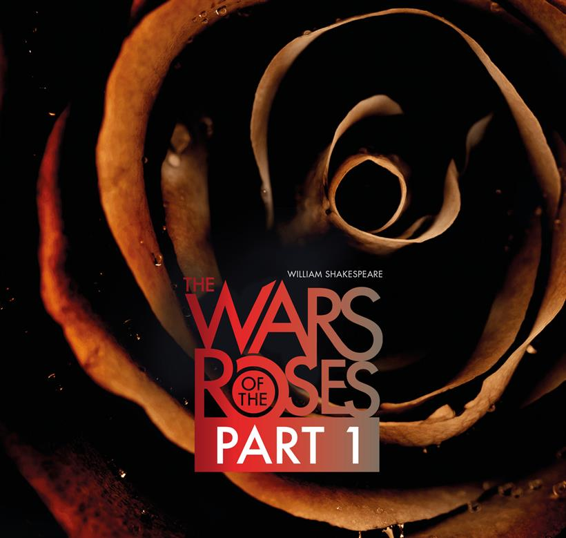 The Wars of the Roses Part 1 on the background of a red rose