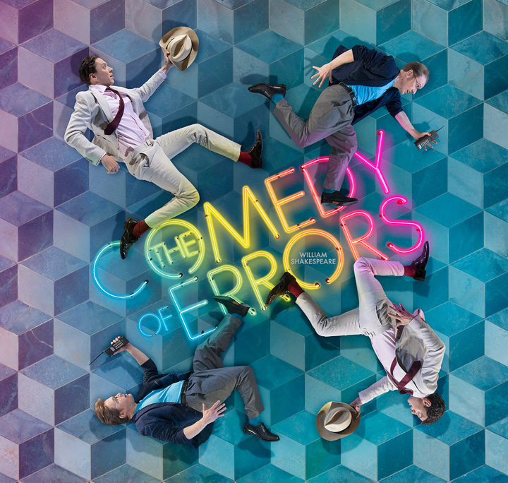 The Comedy of Errors four men on geometric blue background