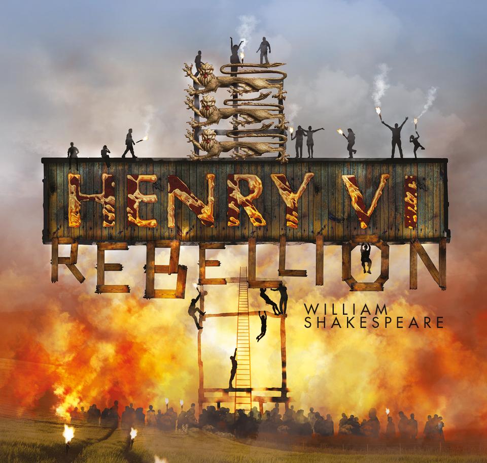 Burning wooden letters saying Henry VI Rebellion