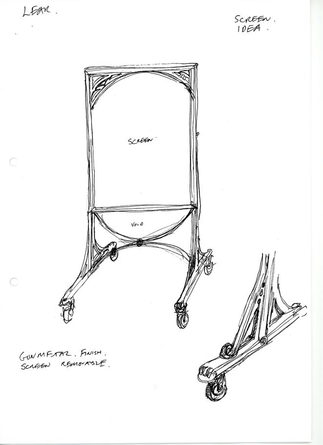 Tom Piper's design sketch for a screen on coasters