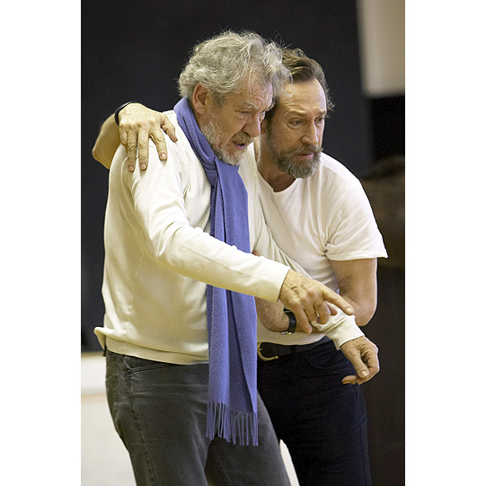 Ian McKellen and Jonathan Hyde rehearsing the mock trial as Lear's 'wits begin to turn'.