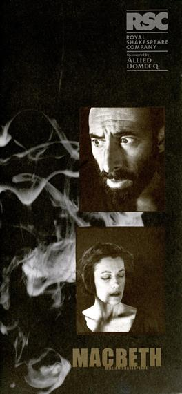 Macbeth programme cover showing bearded Antony Sher headshot, swirling smoke and Harriet Walter with eyes closed