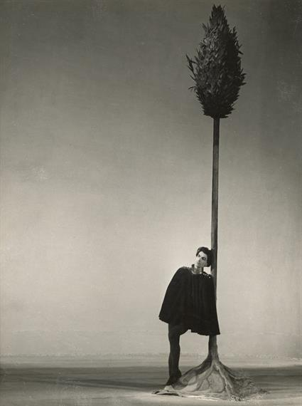 Young cloaked man leans against a large cypress tree