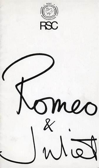Theatre programme for Romeo and Juliet 1986 with black ink handwritten title like signature on white background