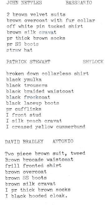 Costume list for John nettles (Bassanio), Patrick Stewart (Shylock) and David Bradley (Antonio) for The Merchant of Venice 1978