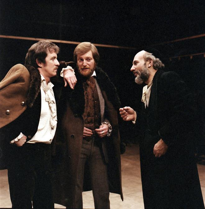 Bassanio and Antonio negotiate the bond with Shylock in The Merchant of Venice 1978
