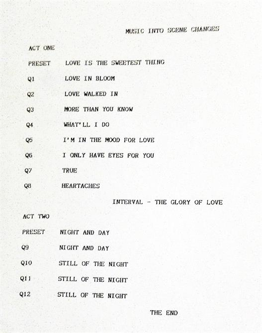 A list of the music cues for acts one and two