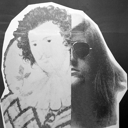 A poster showing a picture of an Elizabethan man juxtaposed with a more modern image of a man in sunglasses with long hair