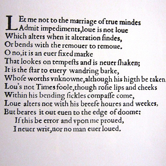 Shakespeare's Sonnet 116 about love reproduced in the programme for the Two Gentlemen of Verona 1970