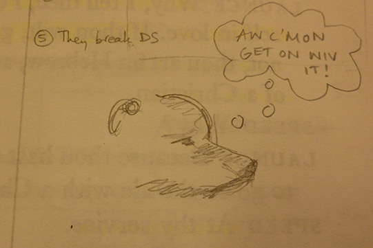 Stage manager's sketch of Ria the dog (Crab) in The Two Gentlemen of Verona 2004