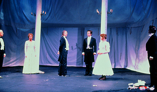 Egeus (left) brings his daughter Hermia to Theseus, Duke of Athens. Russell Enoch as Egeus, Sarah Crowden as Helena, John Carlisle as Theseus, Paul Lacoux as Demetrius, Amanda Bellamy as Hermia, Stephen Simms as Lysander.