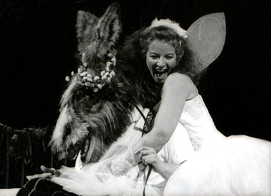 Titania (Clare Higgins) embraces Bottom (David Troughton) in her bower.