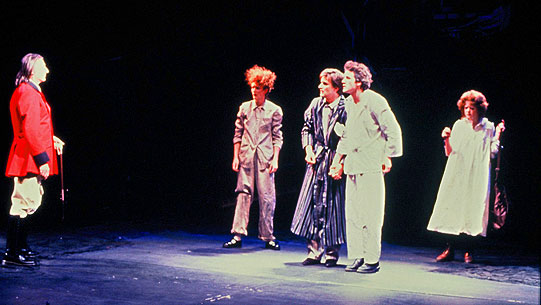 The lovers, asleep on the forest floor, are woken up by Theseus. Left to right: John Carlisle as Theseus, Sarah Crowden as Helena, Paul Lacoux as Demetrius, Stephen Simms as Lysander and Amanda Bellamy as Hermia.