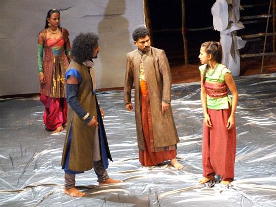 Egeus (J Jayakumar) brings Hermia (Yuki Ellias) before Theseus (PR Jijoy).