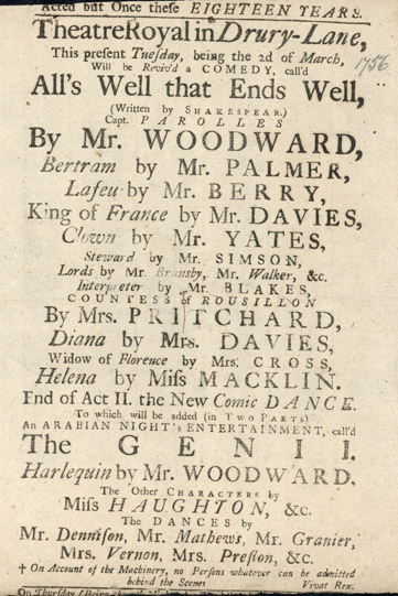 Playbill for a 1756 performance of All's Well That Ends Well.