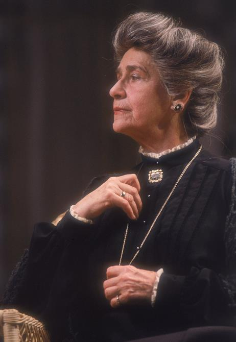 Peggy Ashcroft as the Countess in All's Well That Ends Well, wearing a black dress and jewellery