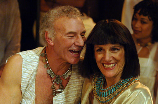 Antony and Cleopatra laugh together