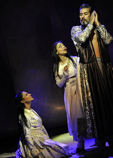 Three actors standing for The Arabian Nights