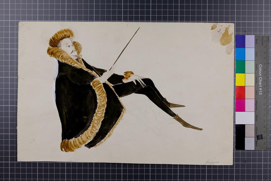 Coloured costume design for Jaques in As You Like It 1961 showing a figure in dark clock with fur trim and hat