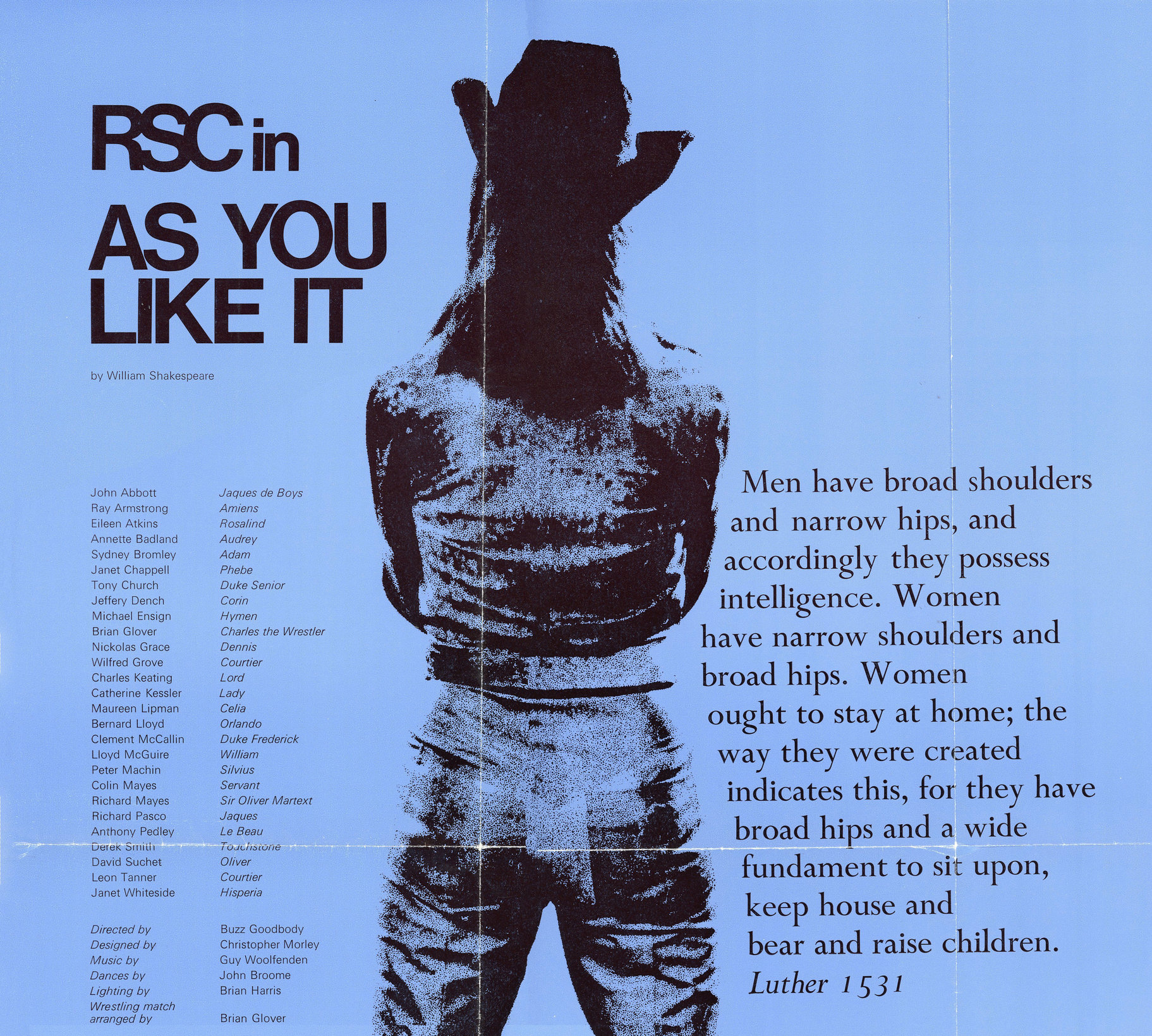 Theatrical poster for As You Like It 1973 on blue background, featuring cast list,  quote from Martin Luther and rear view of jeans wearing Rosalind