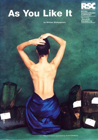 Theatrical poster for As You Like It 1996 showing the back view of a half-naked woman adjusting her hair