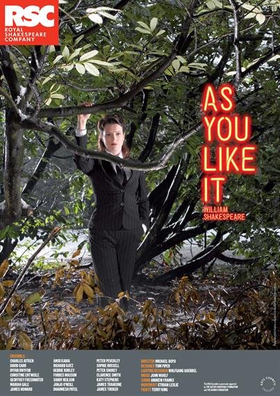 Theatrical poster for As You Like It 2009 showing a young woman in a pin-striped trouser-suit amidst a forest