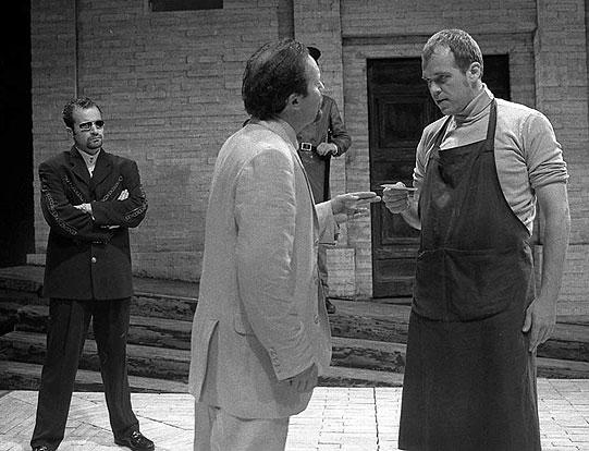 Merchant (Gary Oliver), Antipholus of Ephesus (Simon Coates) and Angelo (Andy Williams).